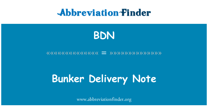 BDN: Bunker Delivery Note