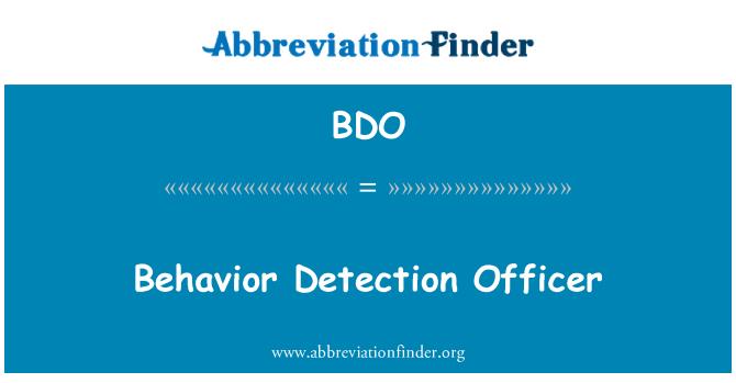 BDO: Behavior Detection Officer