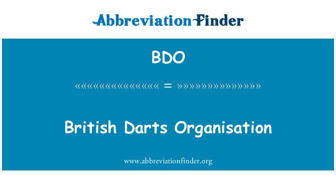 BDO: British Darts Organisation