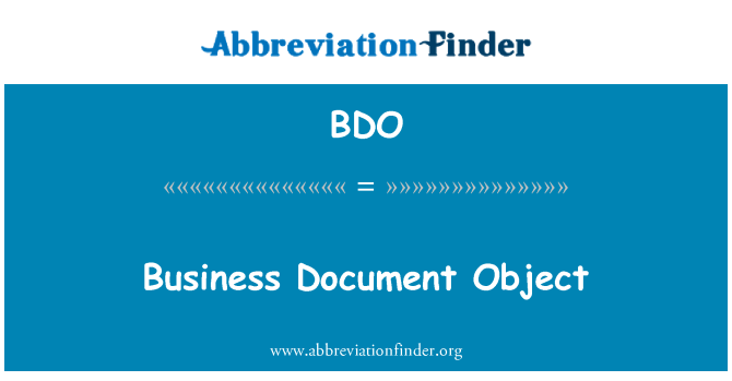 BDO: Business Document Object