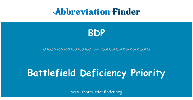 BDP: Battlefield Deficiency Priority