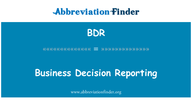 BDR: Business Decision Reporting