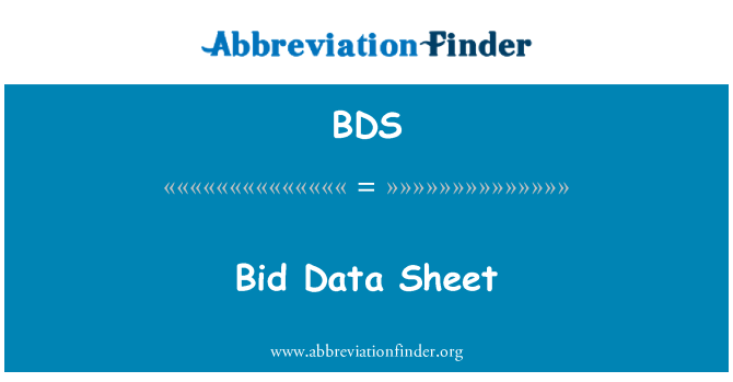 BDS: Bid Data Sheet
