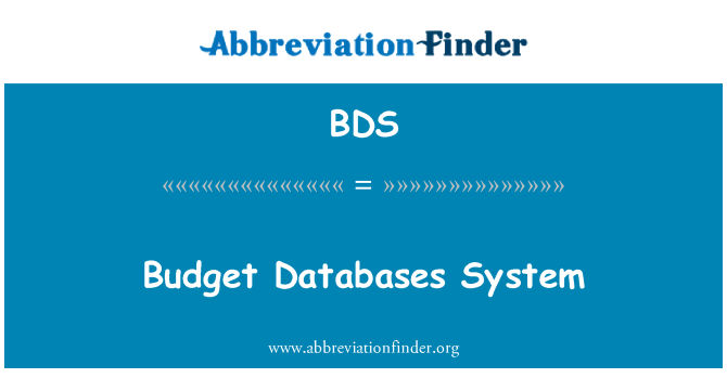 BDS: Budget Databases System
