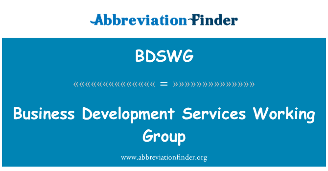 BDSWG: Business Development Services Working Group