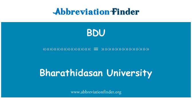 BDU: Bharathidasan University