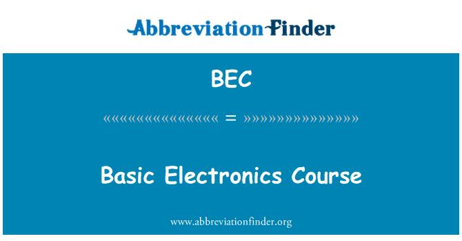 BEC: Basic Electronics Course