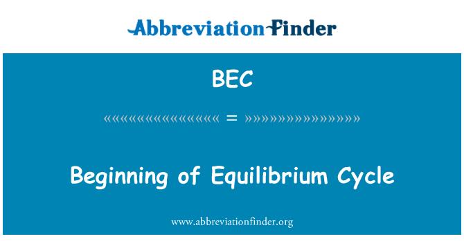 BEC: Beginning of Equilibrium Cycle