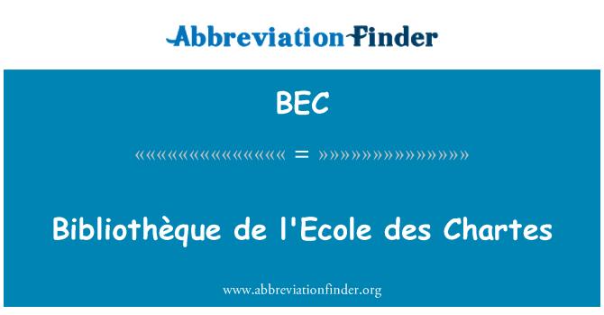 BEC: Bibliothèque de l'Ecole des Chartes