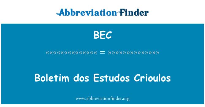 BEC: Boletim dos Estudos Crioulos