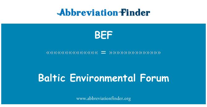 BEF: Baltic Environmental Forum