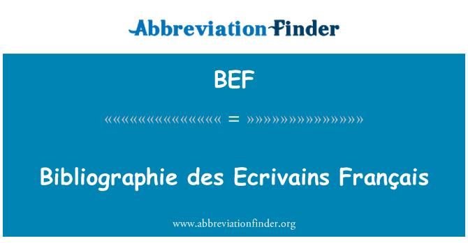 BEF: Bibliographie des Ecrivains Français