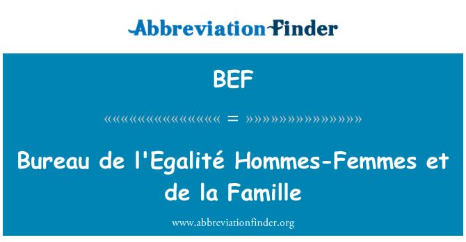 BEF: Bureau de l'Egalité Hommes-Femmes et de la Famille