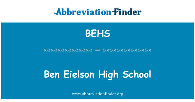 BEHS: Ben Eielson High School