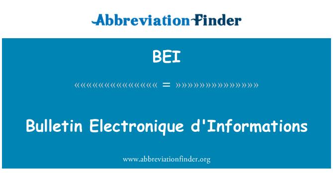 BEI: Bulletin Electronique d'Informations