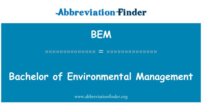 BEM: Bachelor of Environmental Management