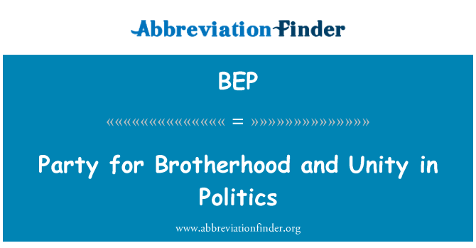 BEP: Party for Brotherhood and Unity in Politics