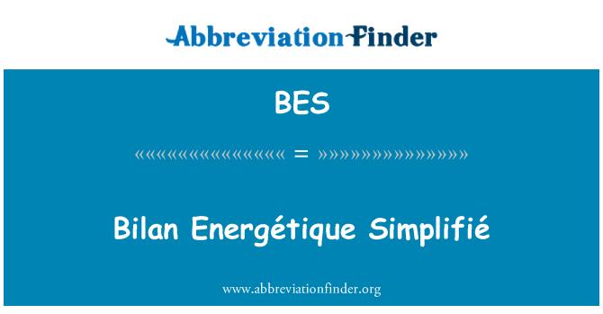 BES: Bilan Energétique Simplifié