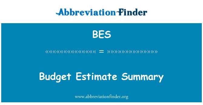 BES: Budget Estimate Summary