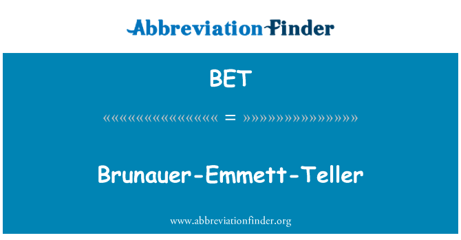 BET: Brunauer Emmett Teller