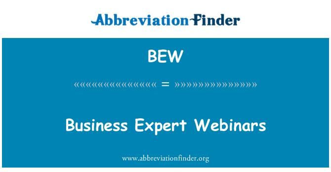 BEW: Business Expert Webinars