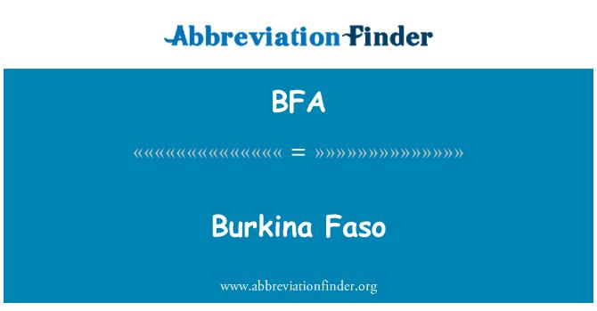 BFA: Burkina Faso