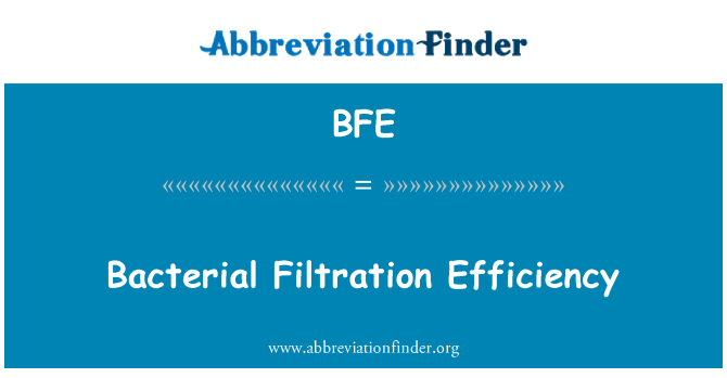 BFE: Bacterial Filtration Efficiency