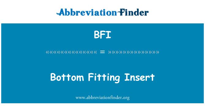 BFI: Bottom Fitting Insert