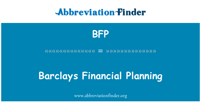 BFP: Barclays Financial Planning