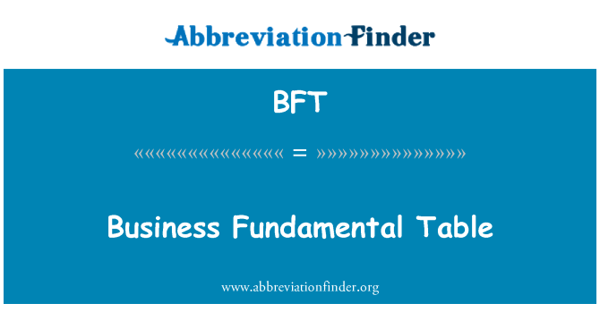 BFT: Business Fundamental Table