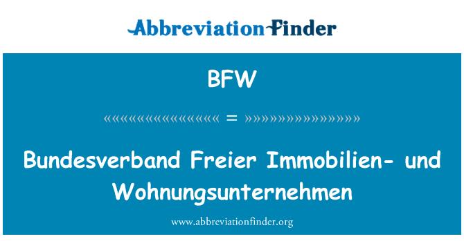 BFW: Bundesverband Freier Immobilien- und Wohnungsunternehmen