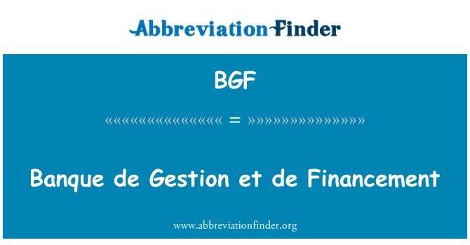 BGF: Banque de Gestion et de Financement