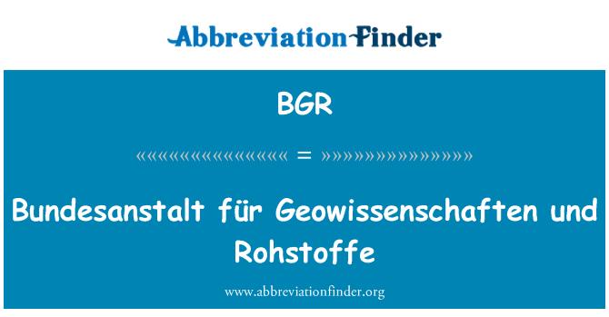 BGR: Bundesanstalt für Geowissenschaften und Rohstoffe