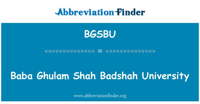 BGSBU: Baba Ghulam Shah Václav univerzita
