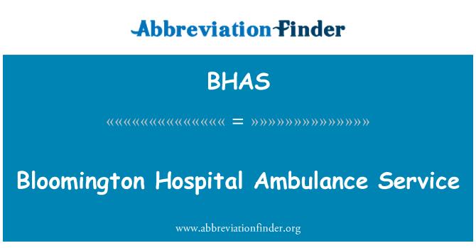 BHAS: Bloomington hastane ambulans Servisi