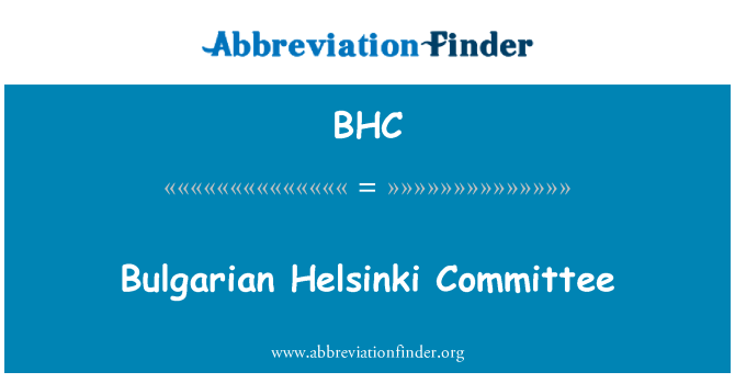 BHC: Bulgarian Helsinki Committee