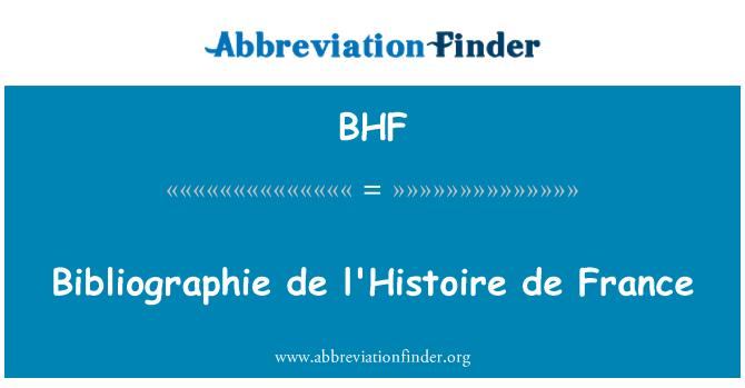BHF: Bibliographie de l'Histoire de France