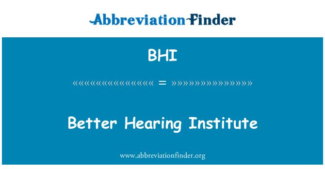 BHI: Better Hearing Institute