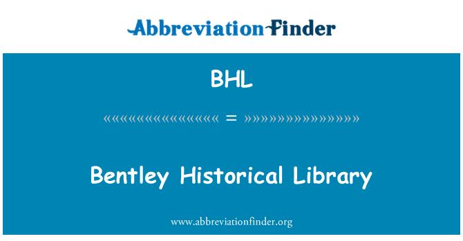 BHL: Bentley Historical Library