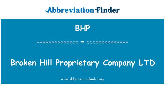 BHP: Broken Hill Proprietary Company LTD