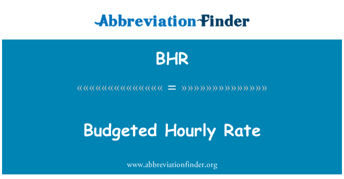 BHR: Budgeted Hourly Rate