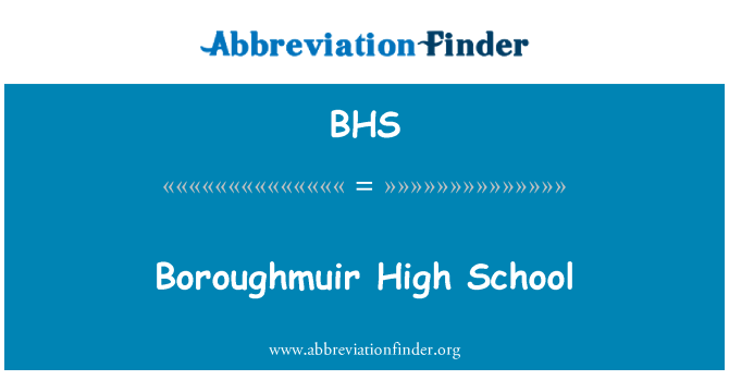 BHS: Boroughmuir High School