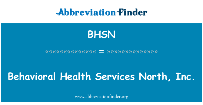 BHSN: Behavioral Health Services North, Inc.
