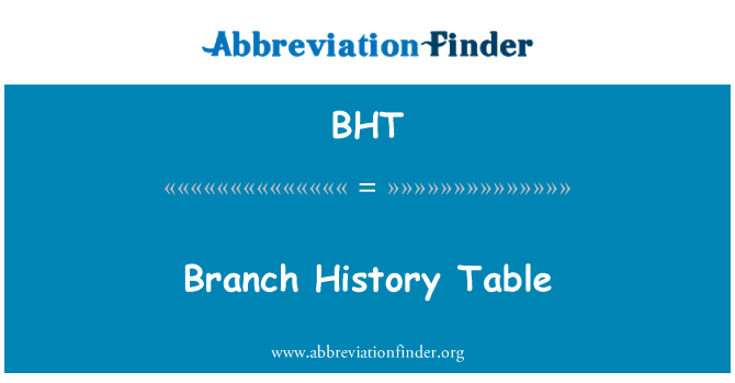 BHT: Branch History Table
