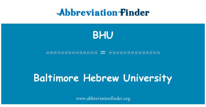 BHU: Baltimore Hebrew University