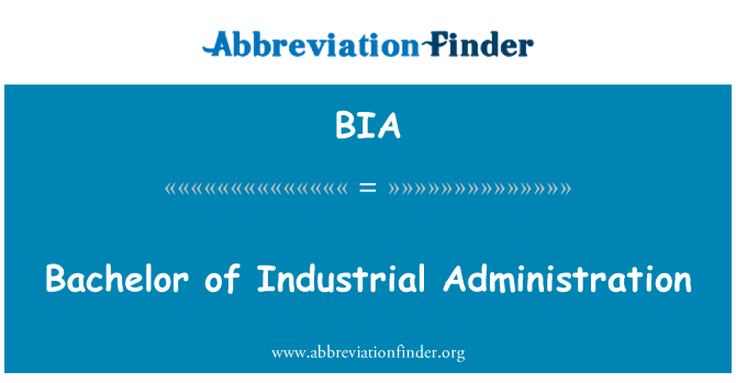 BIA: Bachelor of Industrial Administration
