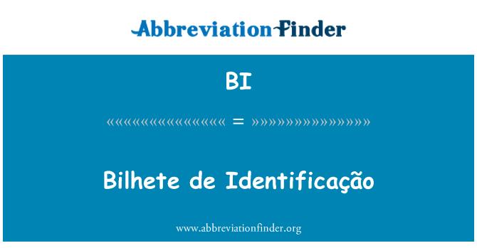 BI: Bilhete de Identificação