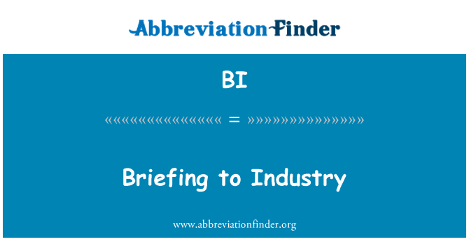 BI: Briefing to Industry