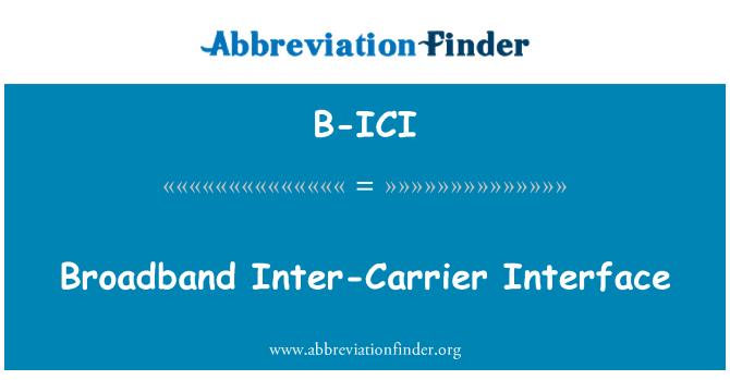 B-ICI: Broadband Inter-Carrier Interface