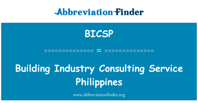 BICSP: Building Industry Consulting Service Philippines